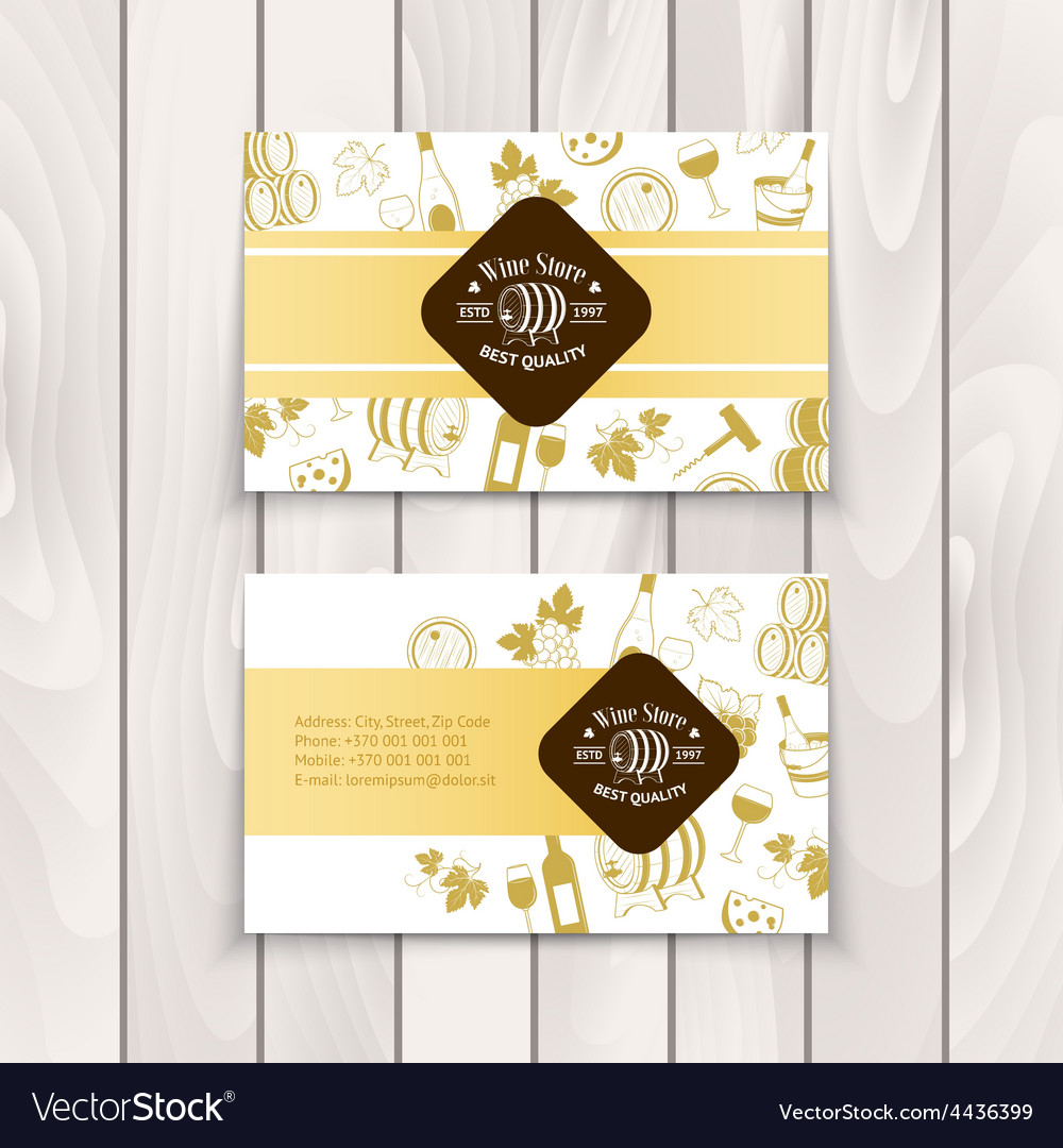 Set of business cards templates for wine company vector image maxwellsz