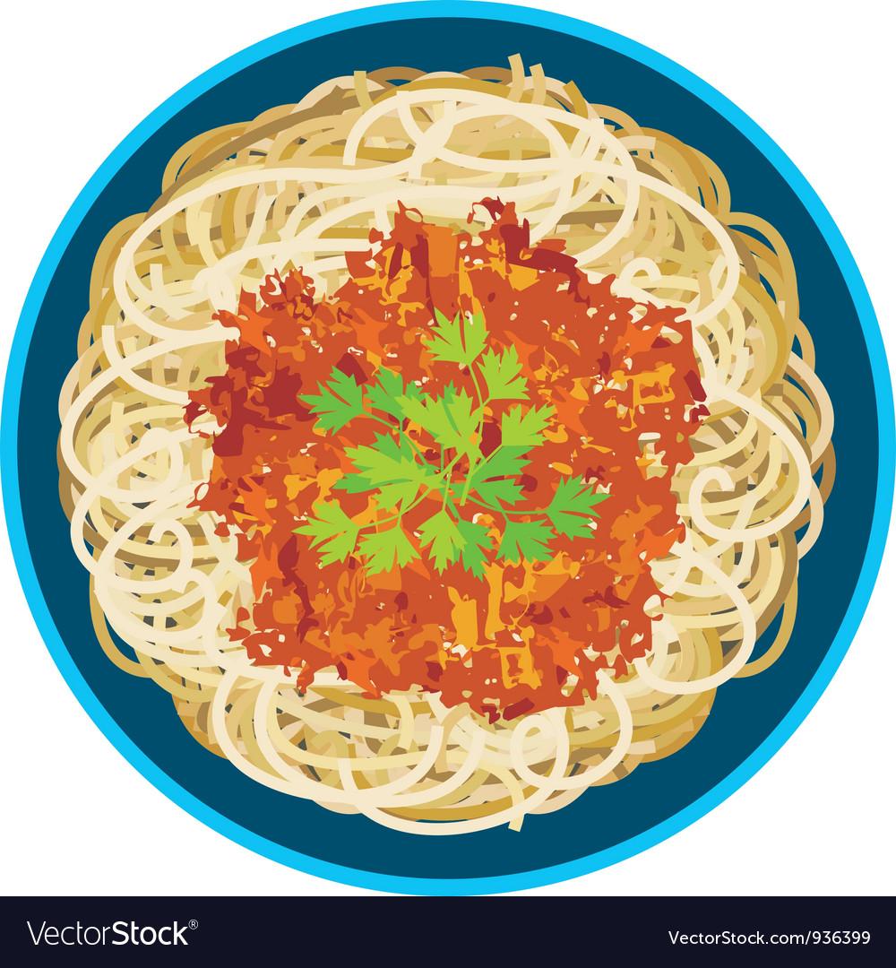 Spaghetti in a plate vector image