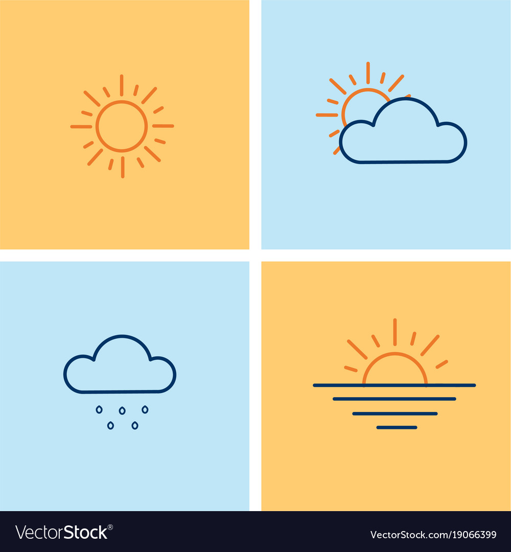 Weather line icons set with sun clouds rain