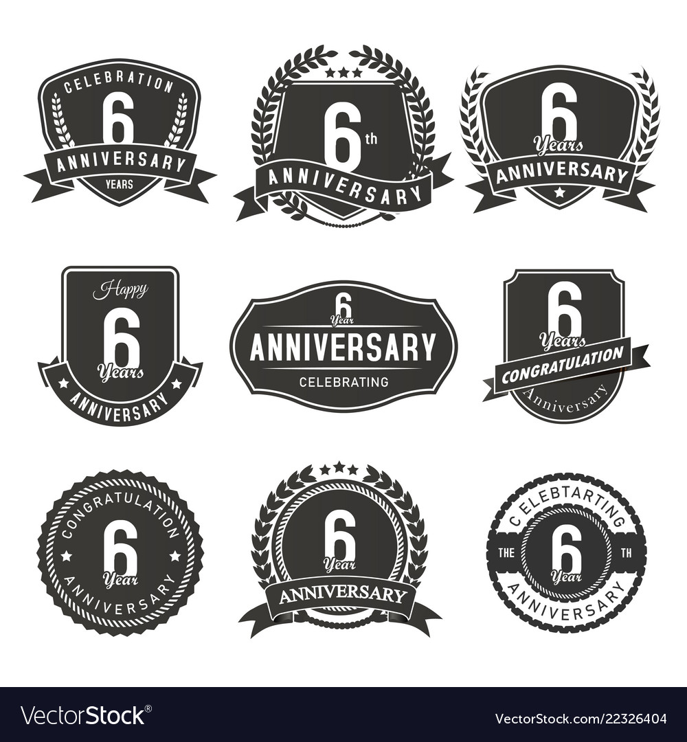 6 year anniversary badge and labels