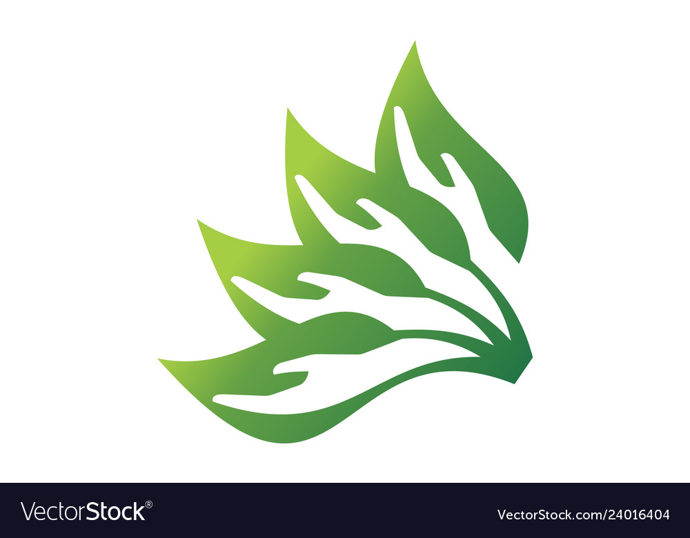 Abstract leaves hand save nature logo icon concept