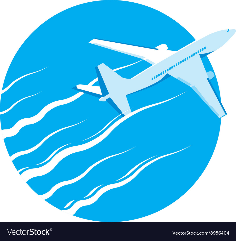 Airplane passenger plane in blue sky vector image