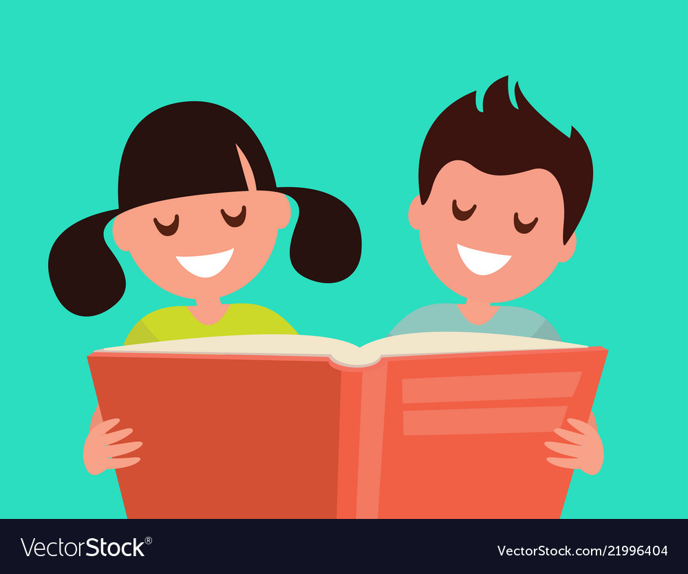Children read a book together