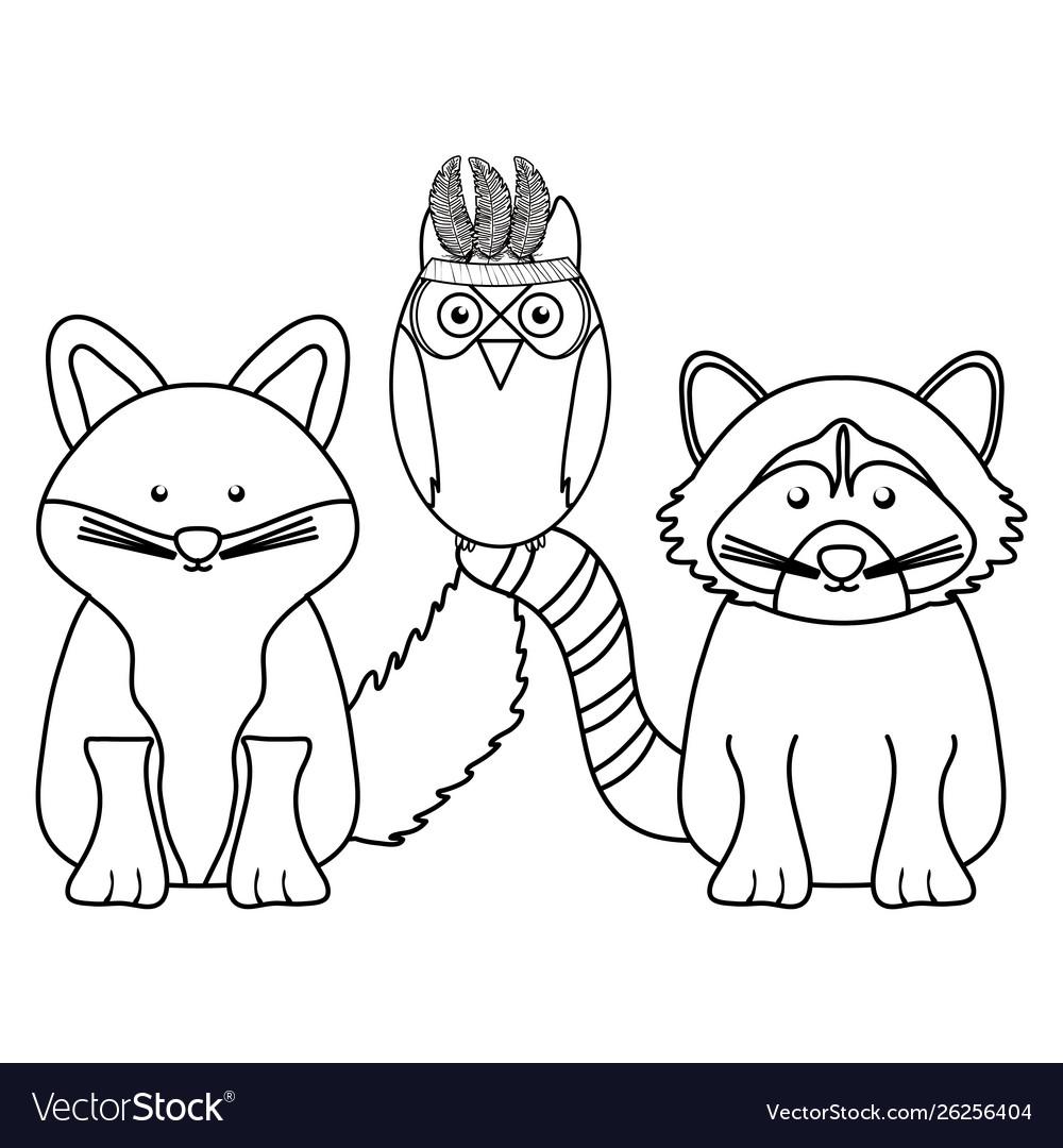 Cute animals group bohemian style