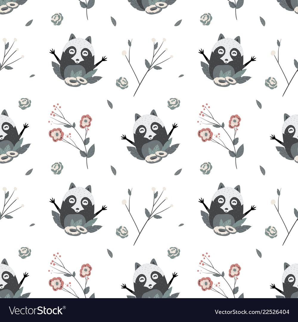 Cute raccoons seamless pattern