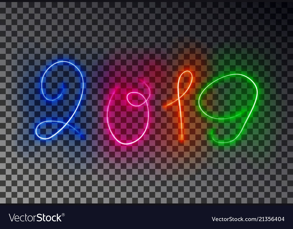 Happy 2019 new year light line glowing magic colo