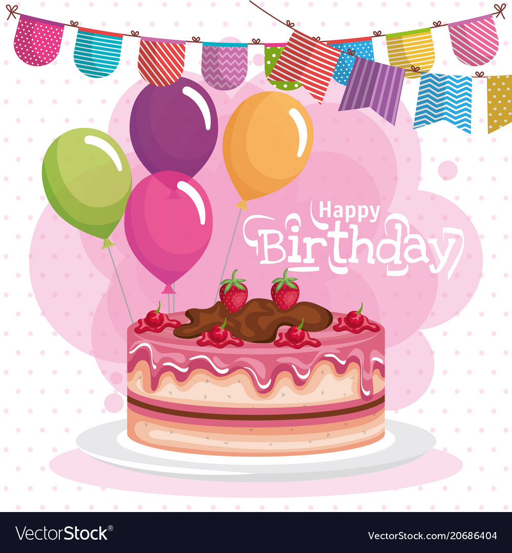 Phenomenal Happy Birthday Cake Celebration Card Royalty Free Vector Funny Birthday Cards Online Eattedamsfinfo