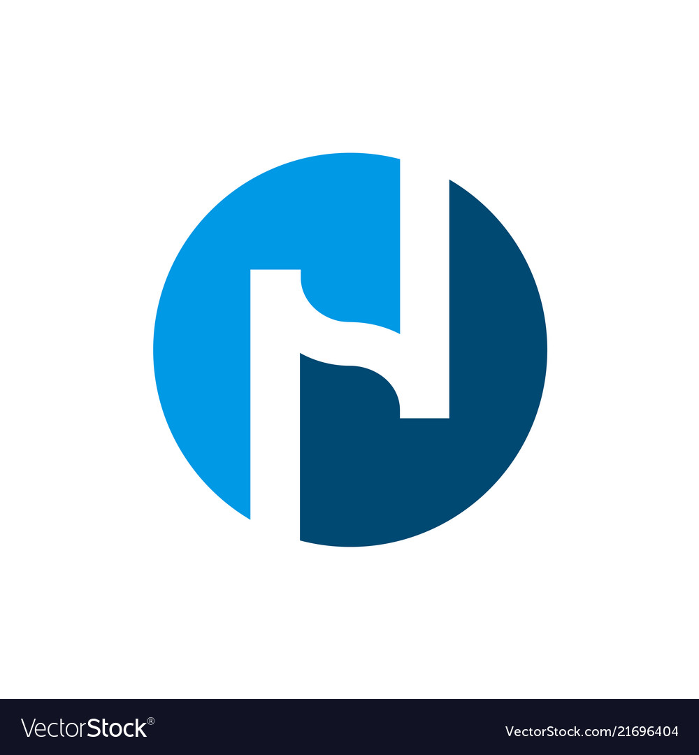 Initial letter n logo n and blue circle shape