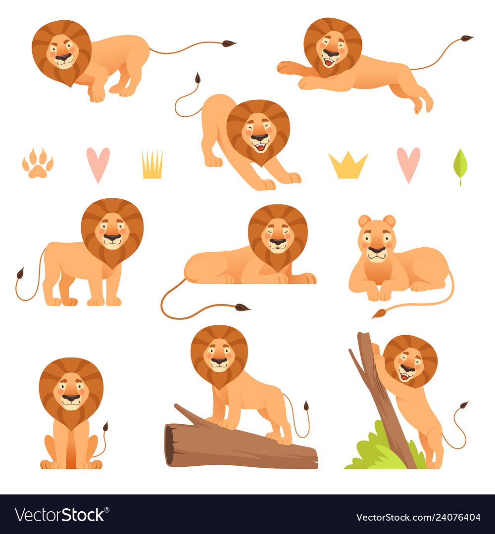 Lion cartoon wild running yellow fur animal king