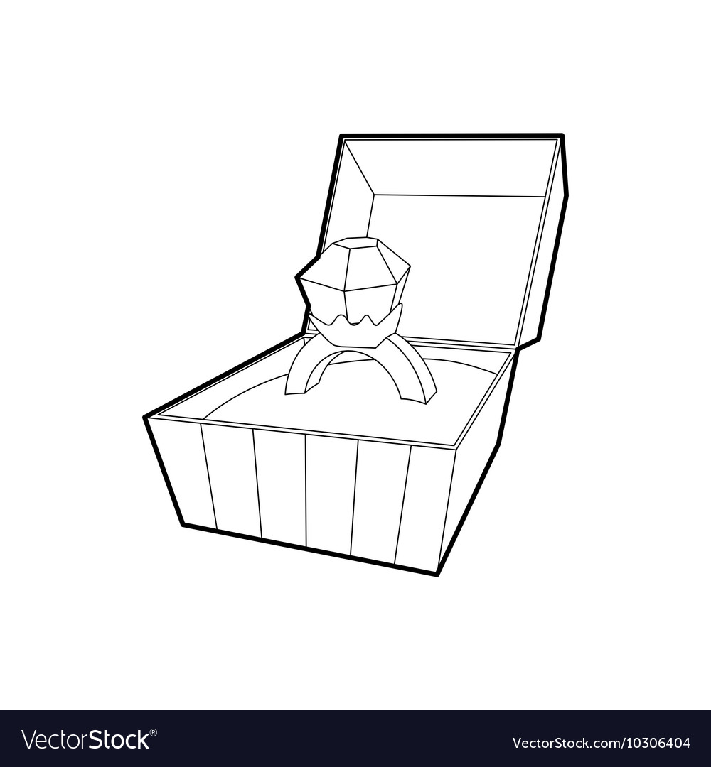 Open box with ring icon outline style