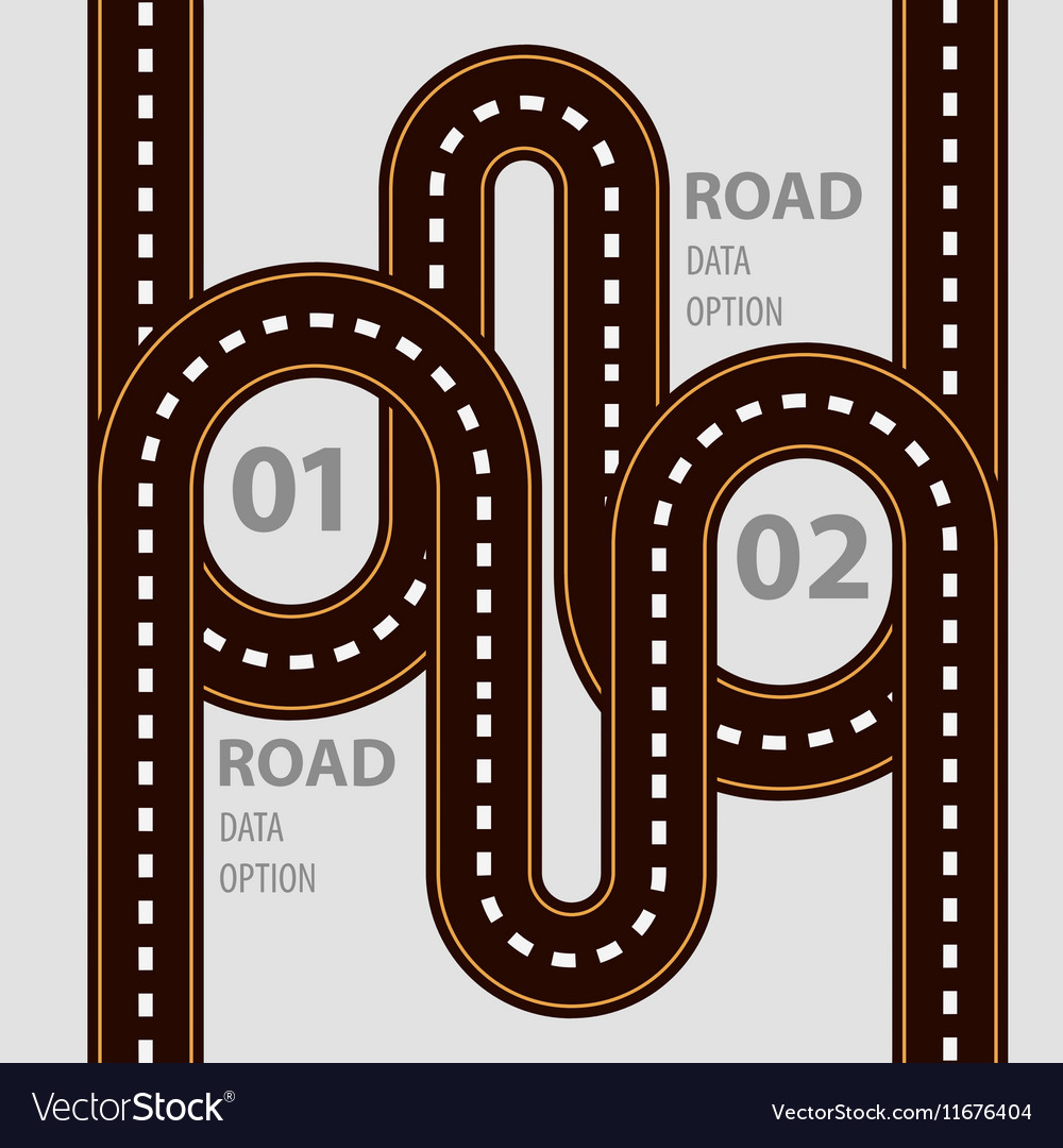 Road infographic with ways set and elements