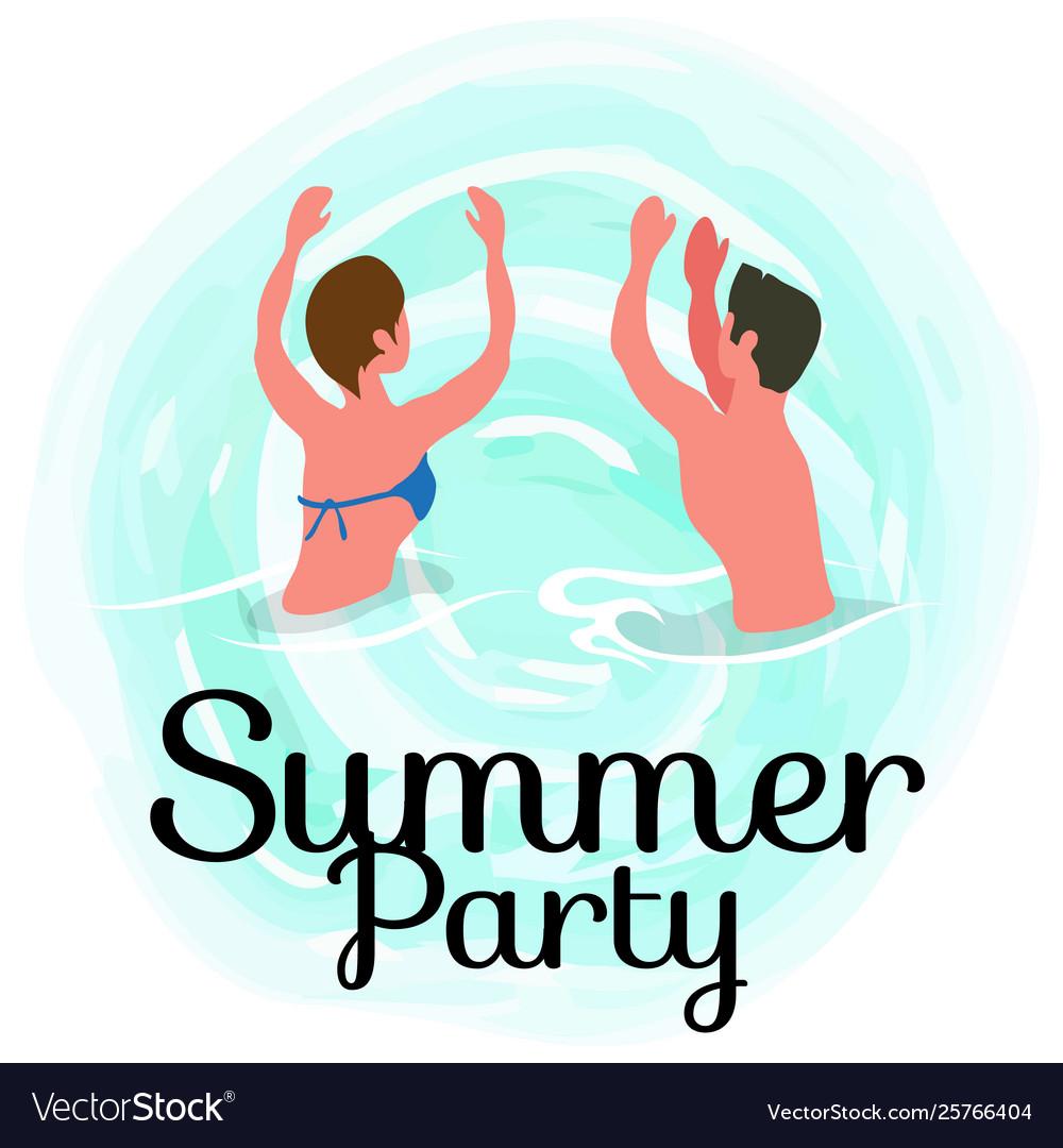 Summertime party couple dancing in ocean summer