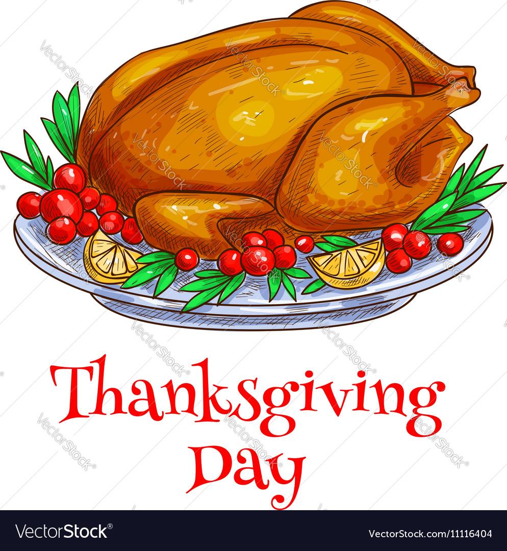 Thanksgiving dinner roasted turkey element vector image