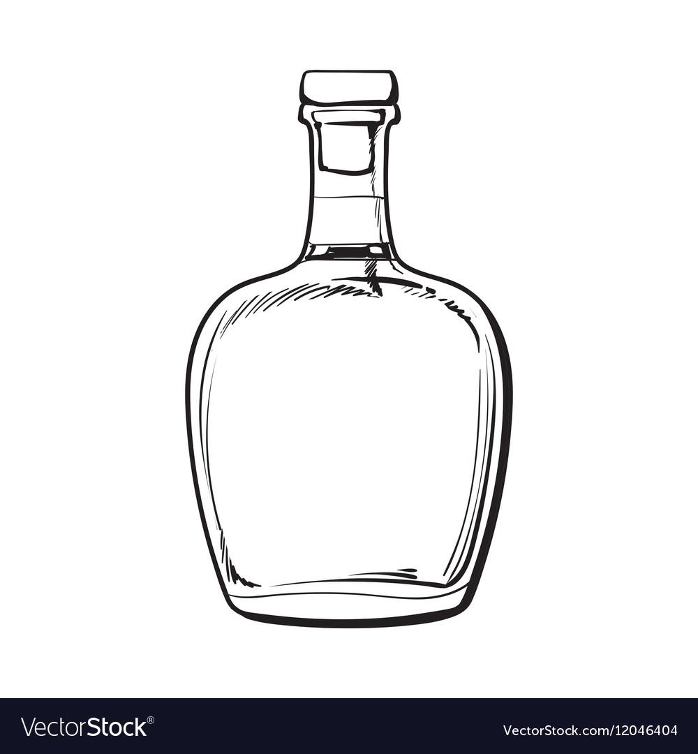 Unopened unlabeled full whiskey bottle