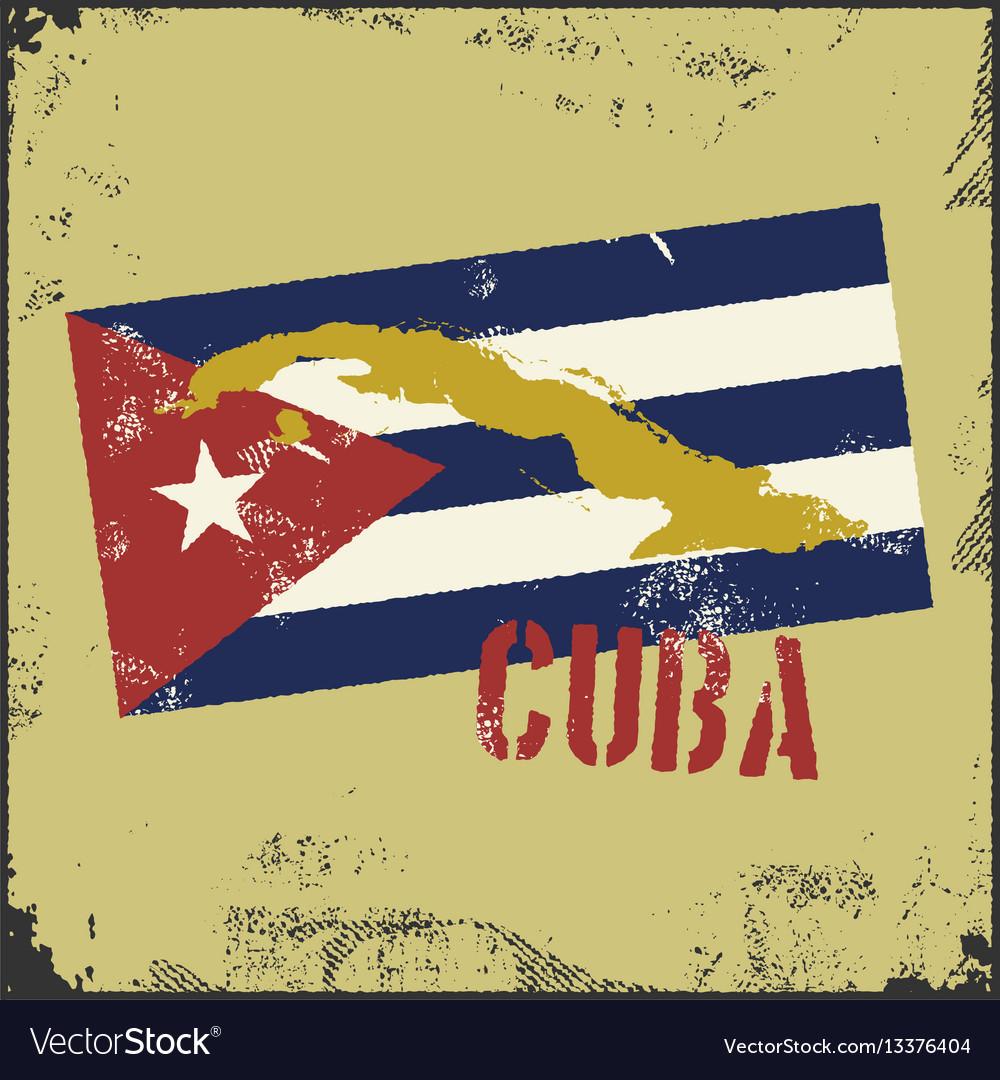 Vintage style cuba map cuba flag
