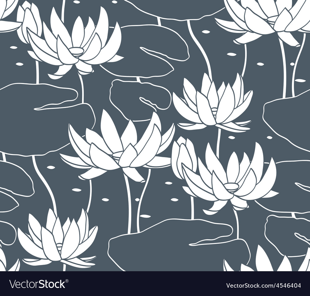 Vintage water lily seamless pattern Classic