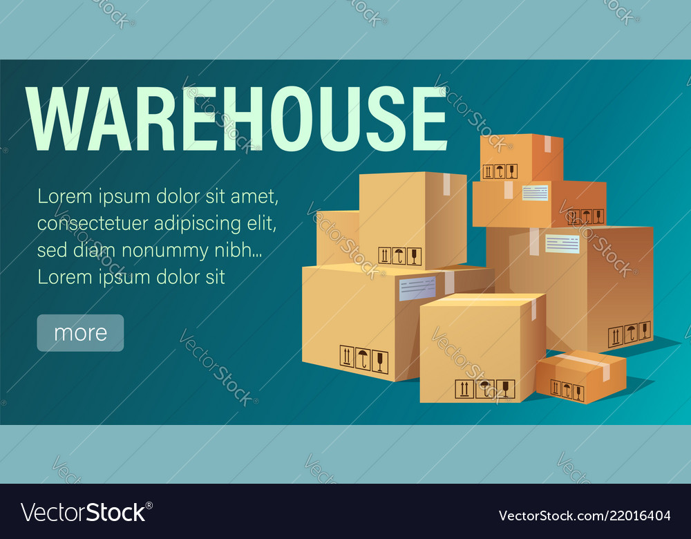 Warehouse banner with pile of stacked sealed goods