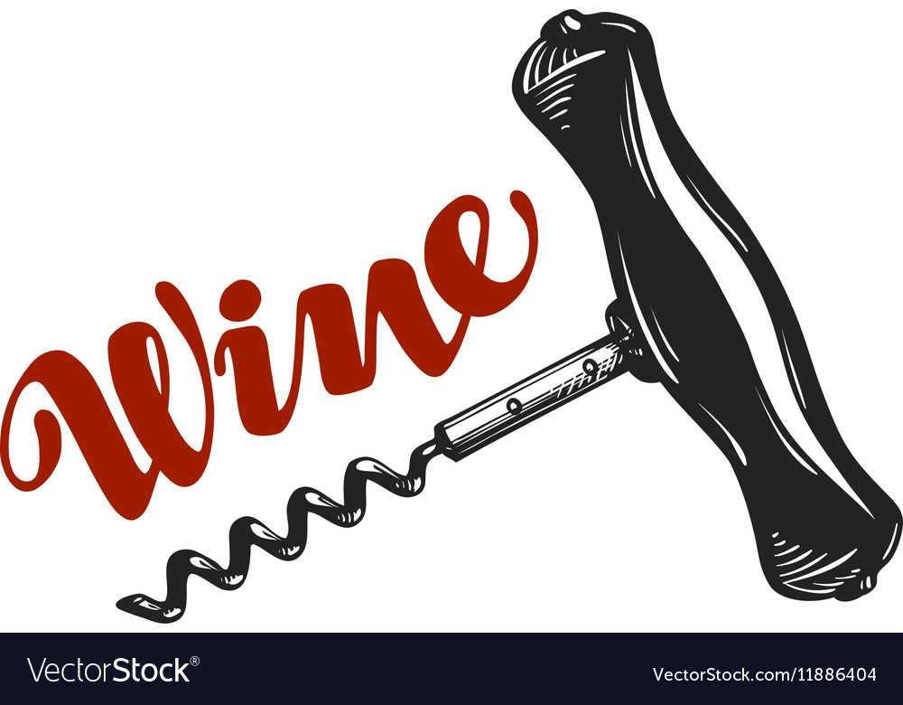 Wine logo Corkscrew winery icon or symbol