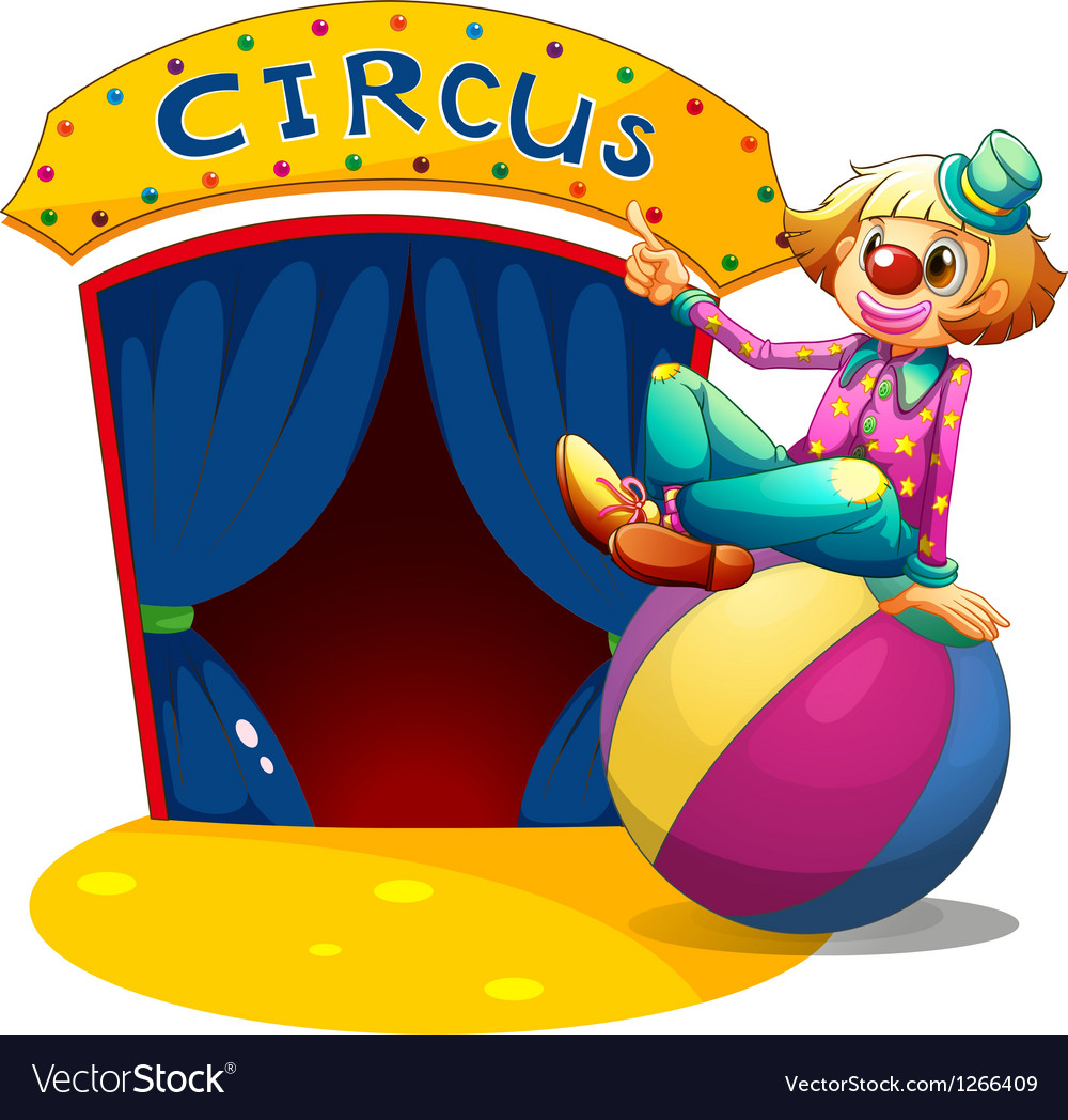 A clown sitting at the top of a ball pointing the vector image