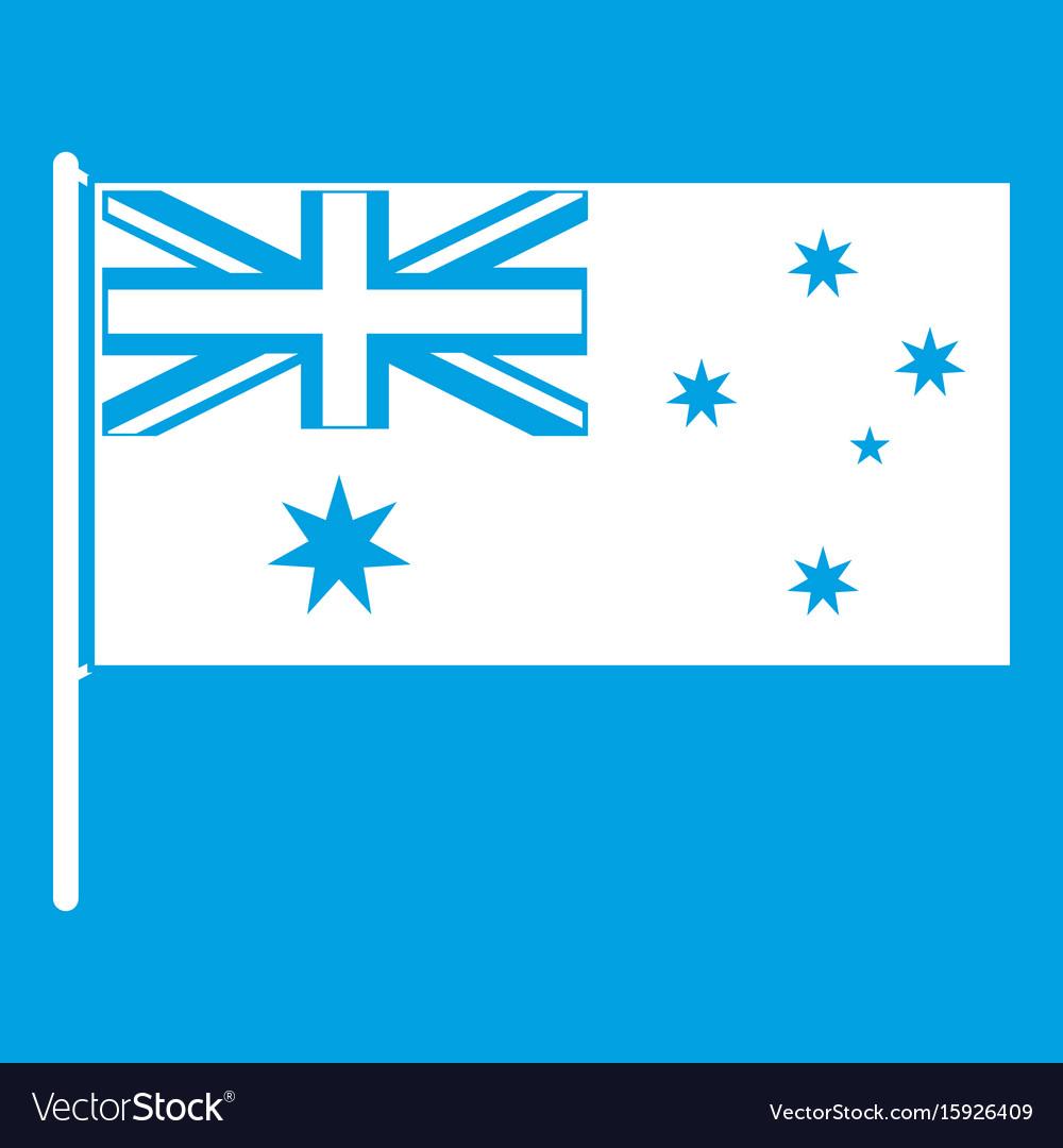 Australian flag icon white vector image