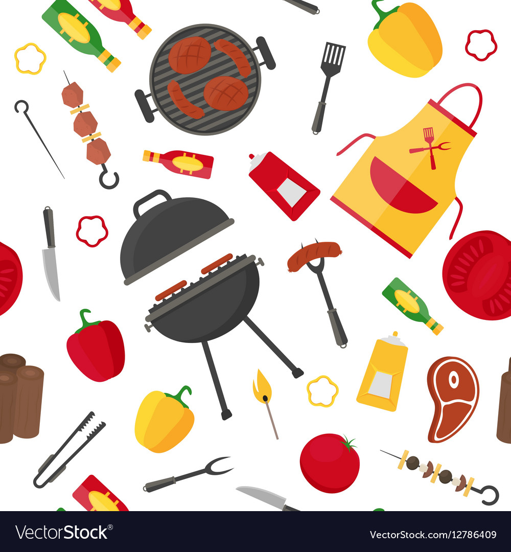 Barbecue and Grill Background Pattern vector image