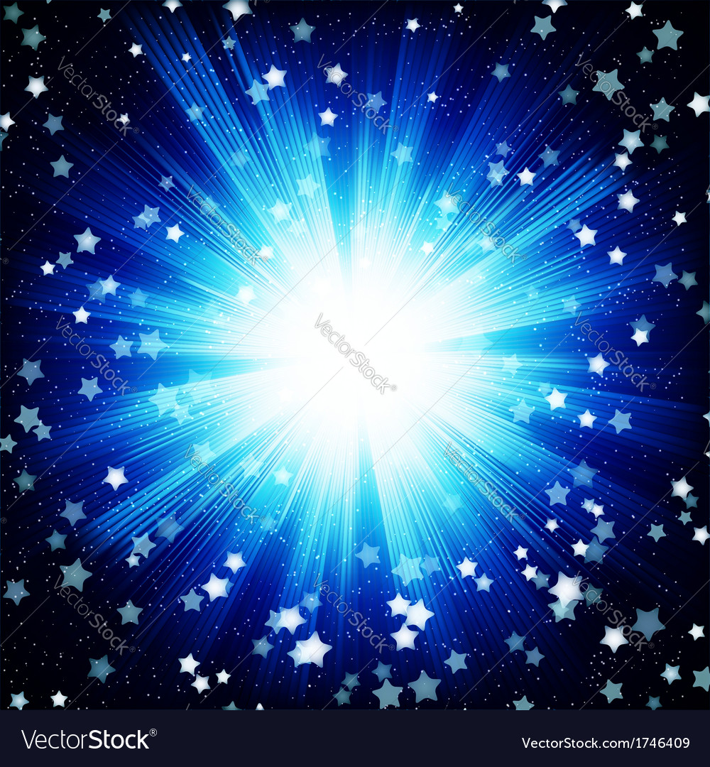 Blue color design background with a shining burst