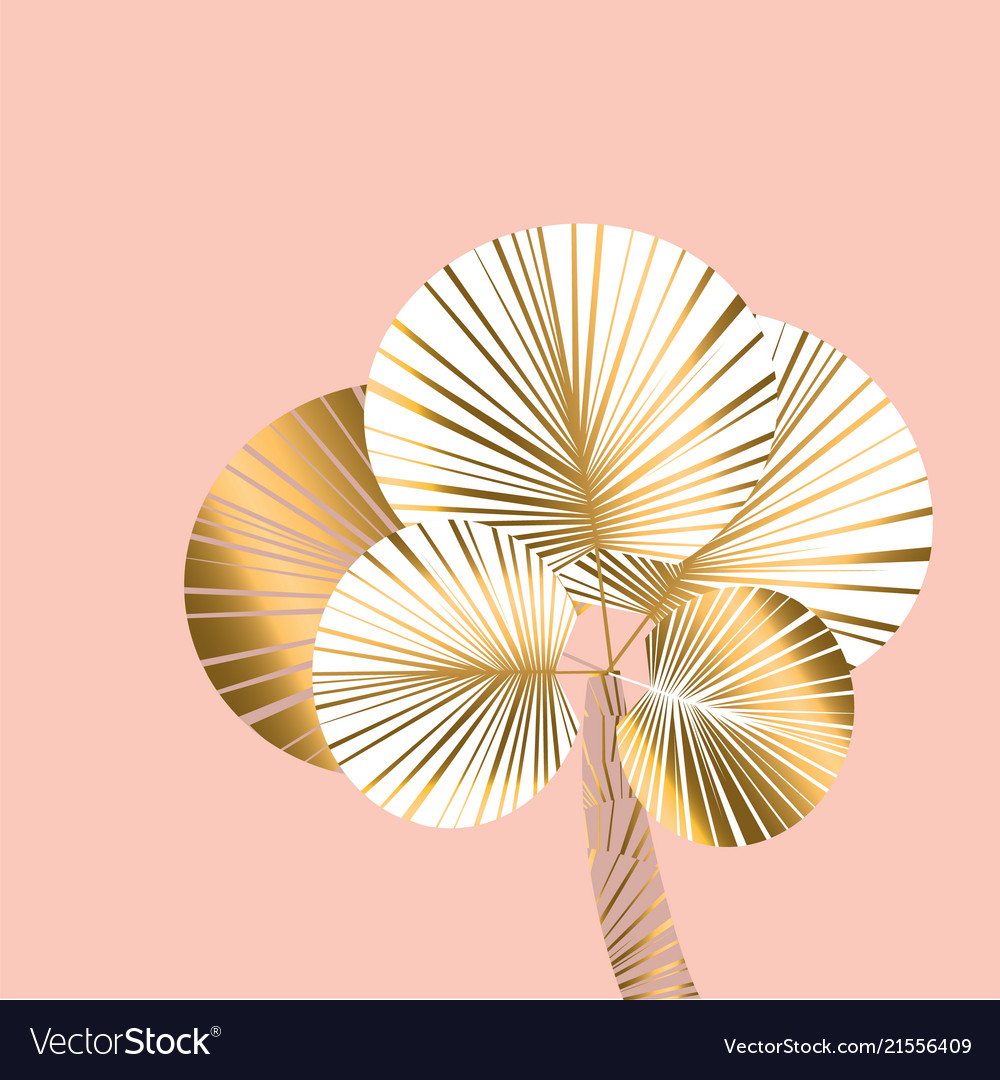 Decorative pastel rosy and gold color palm