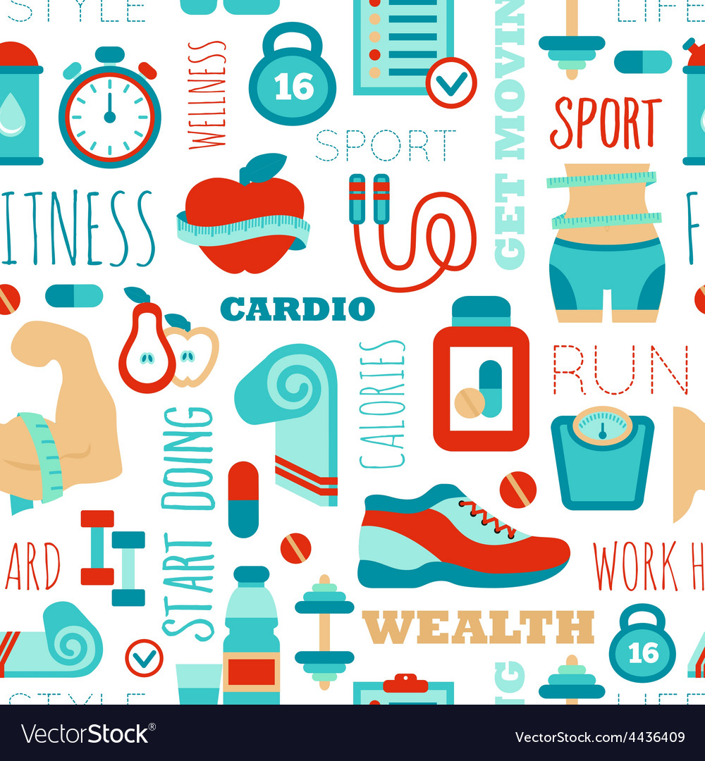 Fitness seamless patterns with sport elements and