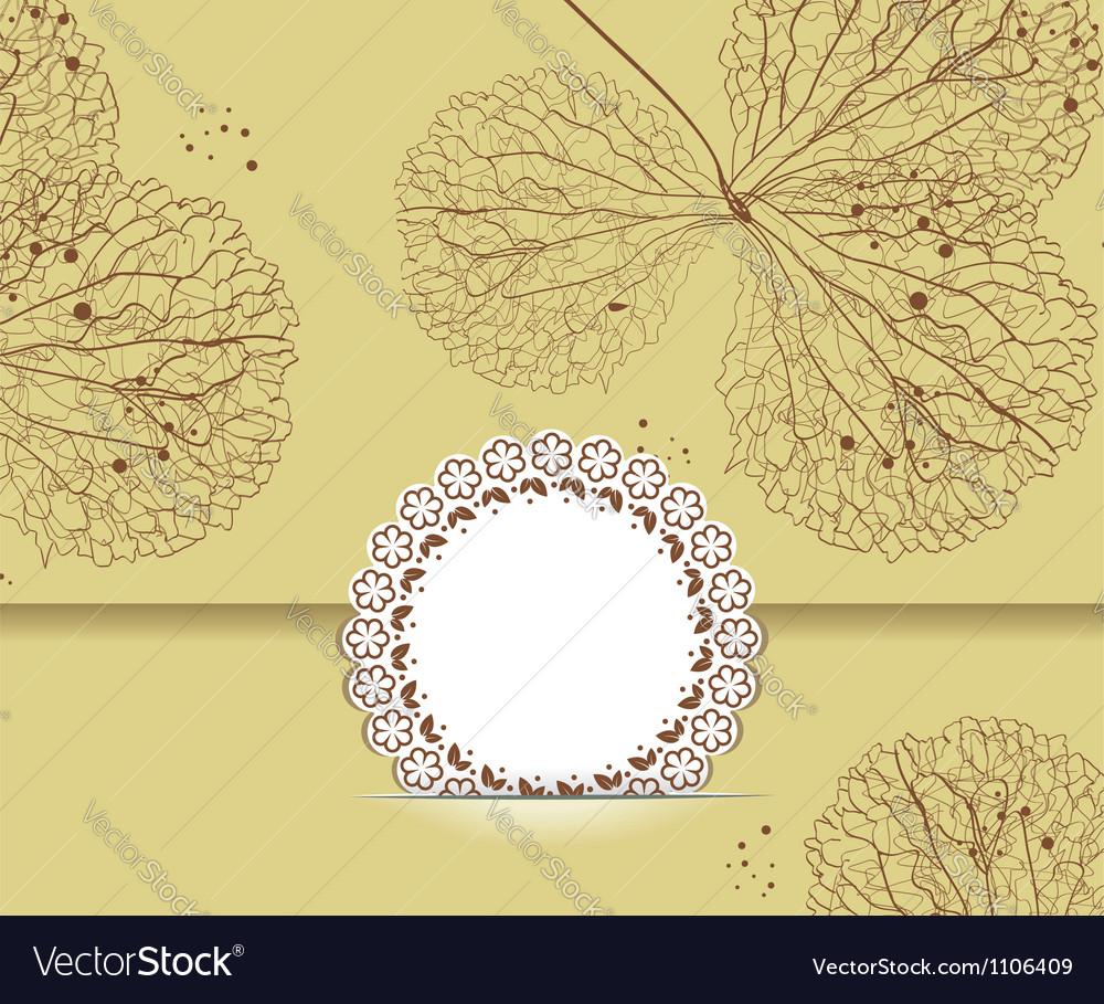 Floral Background with Vintage Label