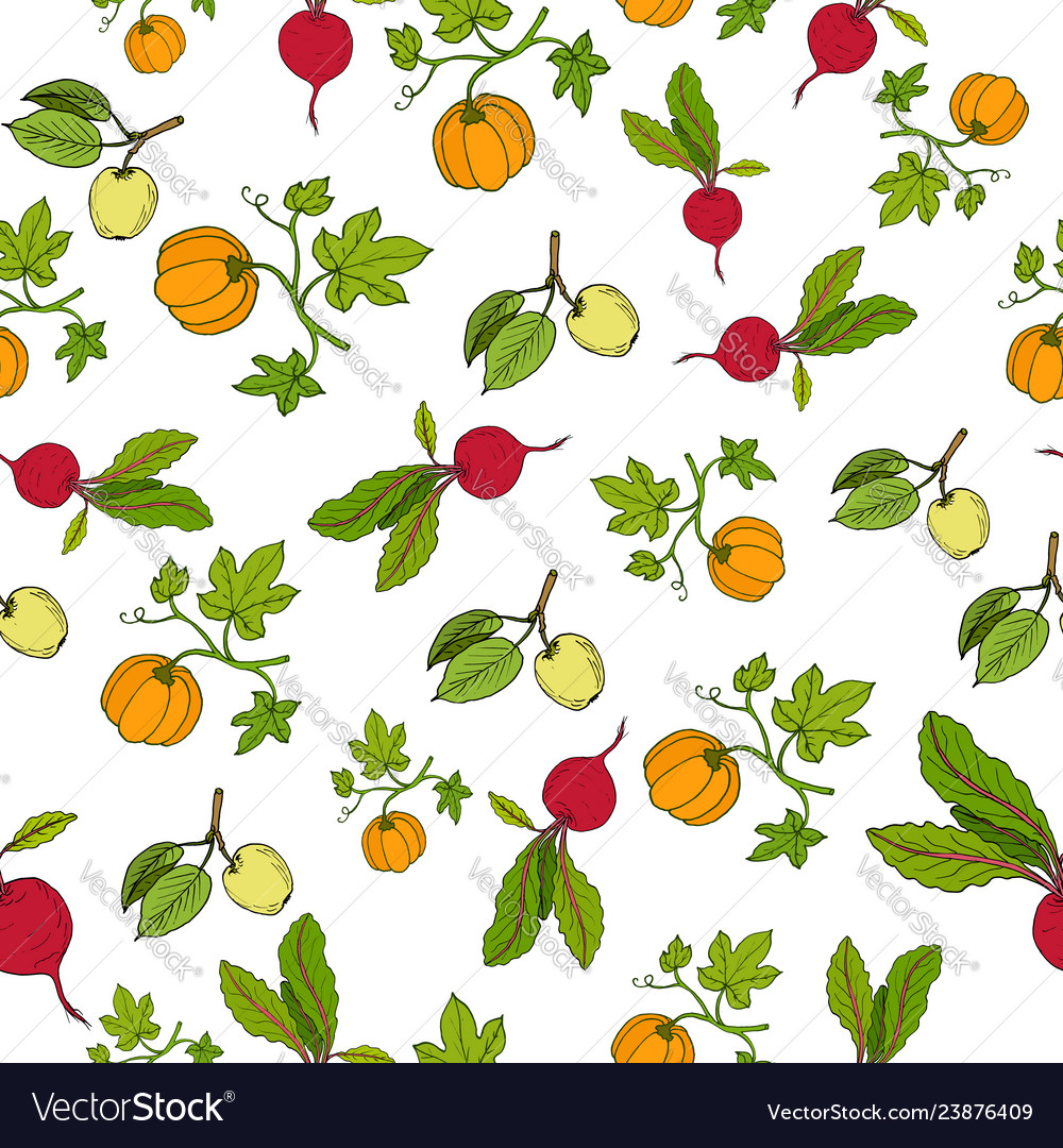 Fresh vegetables and fruits seamless pattern
