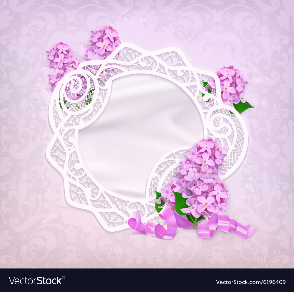 Lace frame lilac romantic background