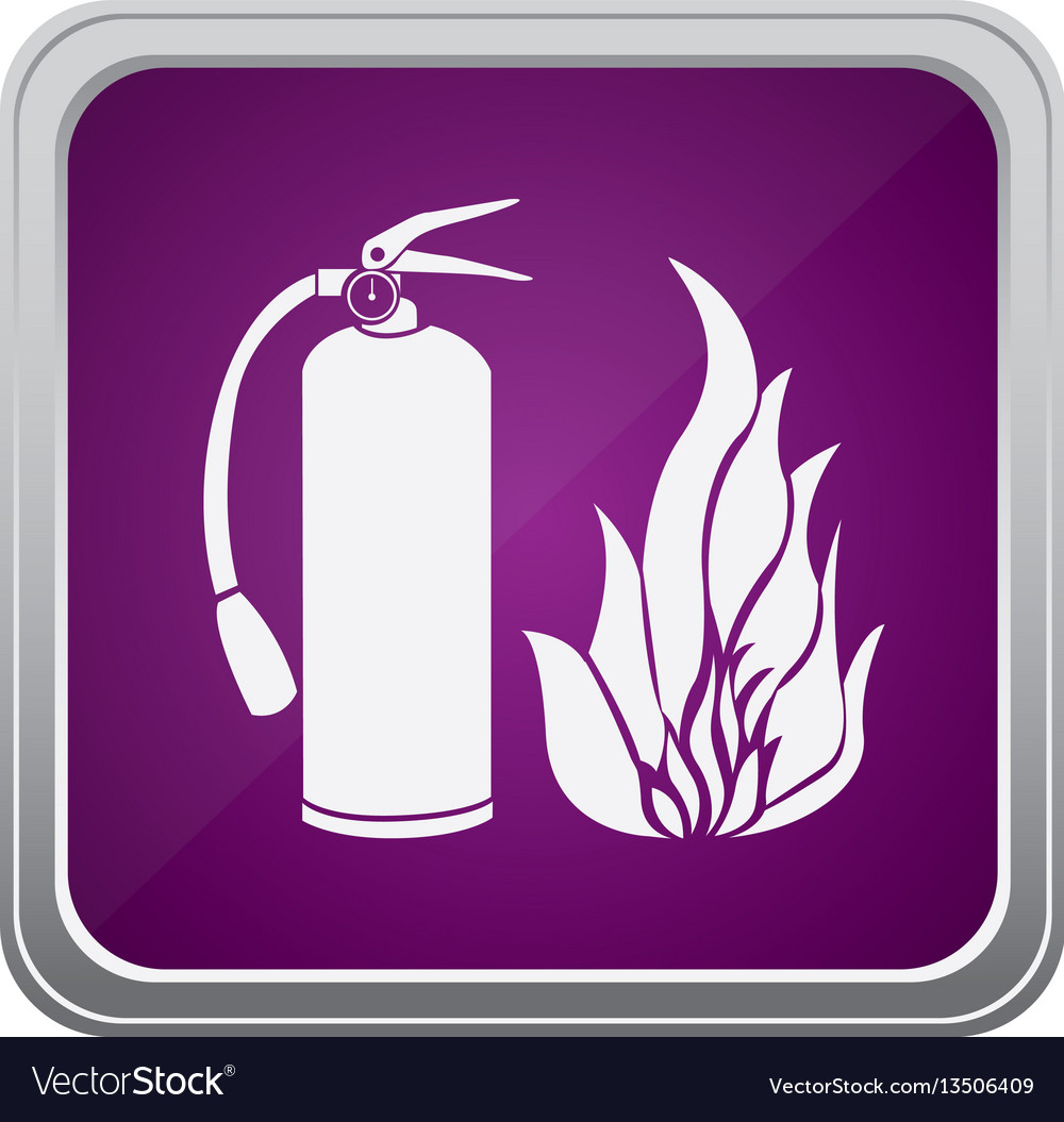 Purple emblem extinguisher with fire icon vector image