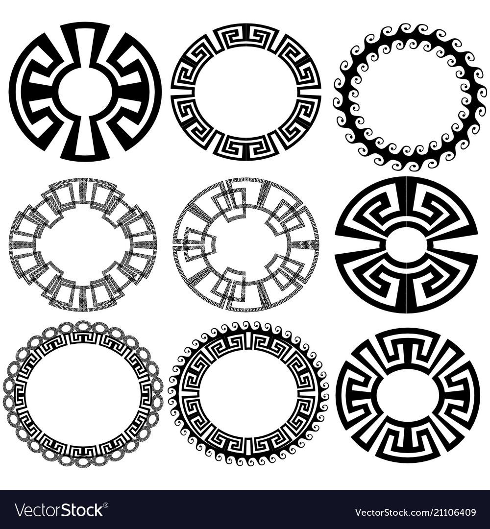 Round greek key meander border frame patterns