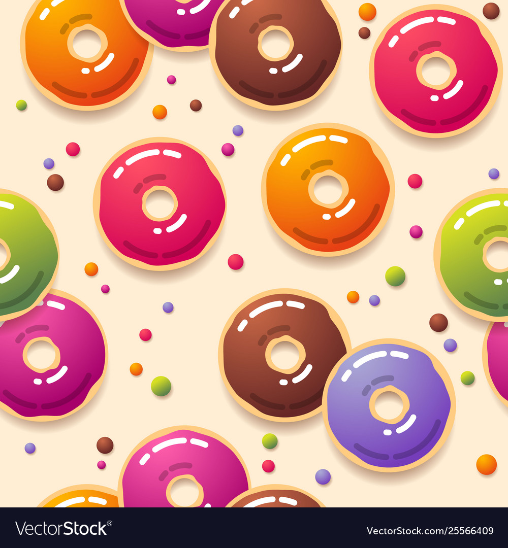 Seamless pattern multicolor donuts and sweets