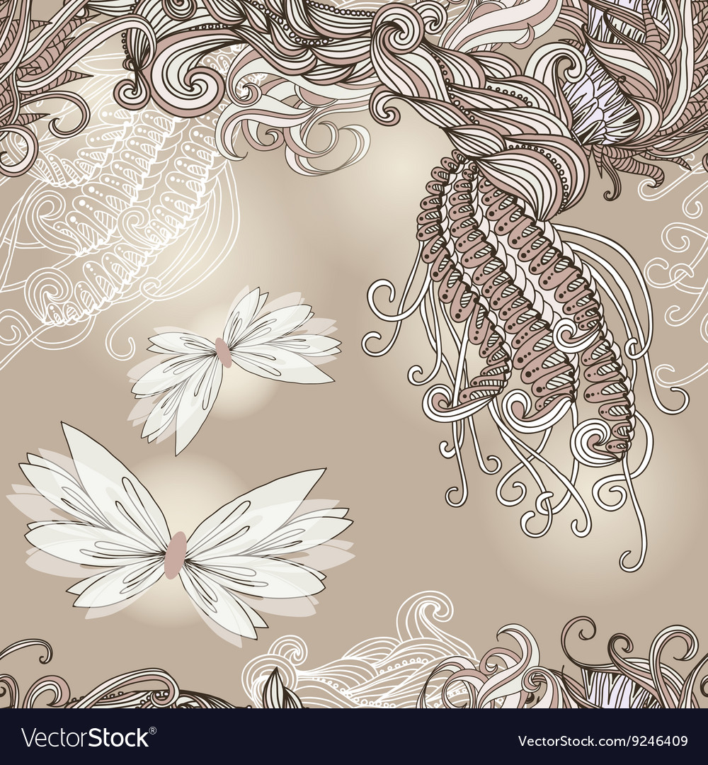 Seamless pattern with butterflies for wedding