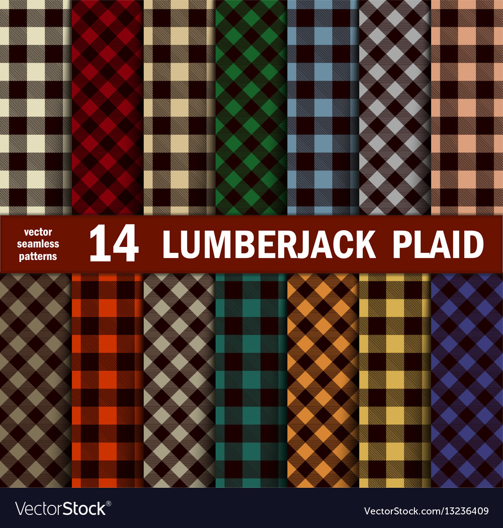 Set of lumberjack plaids seamless patterns