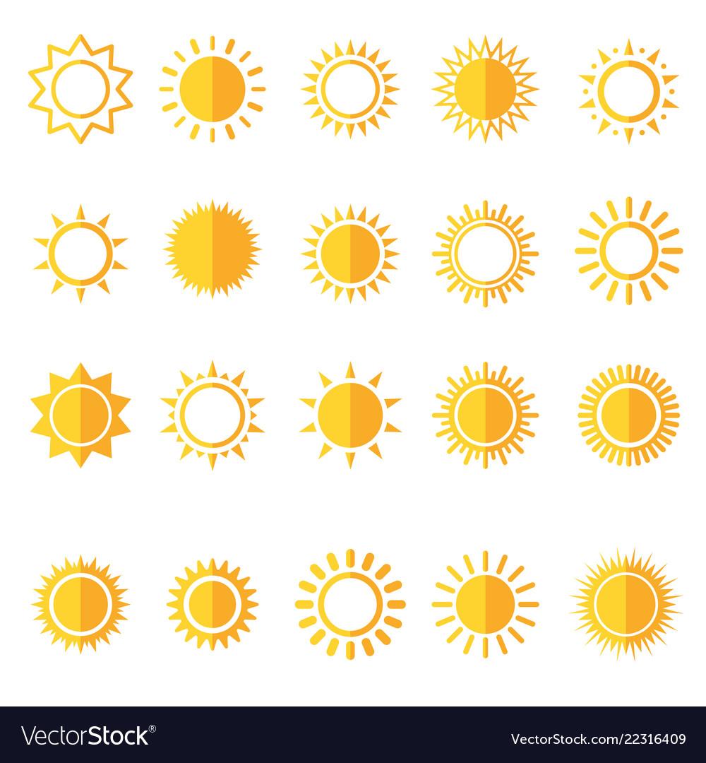 Sun icons isolated set on white