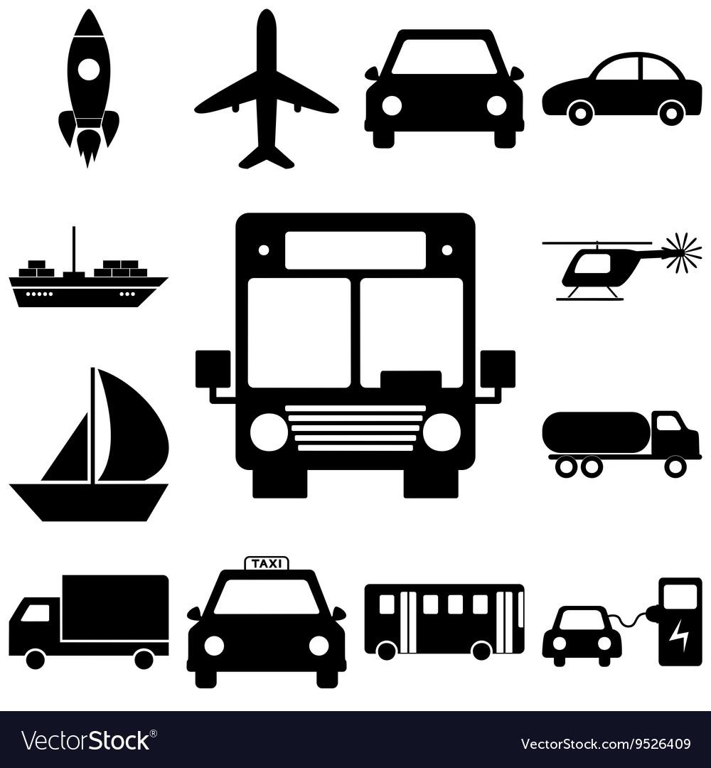 Transport sign set Flat style icons illuatration