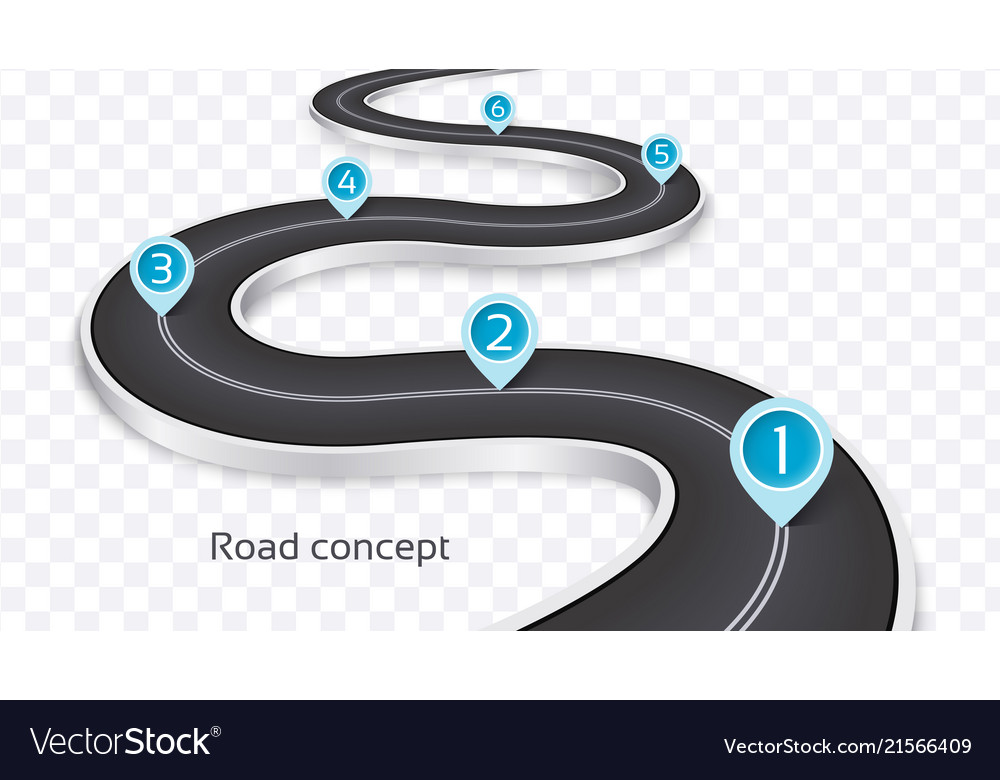 Winding 3d road infographic concept on a white