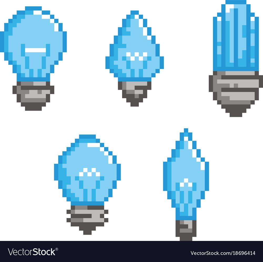 Bulb pixel style set - isolated