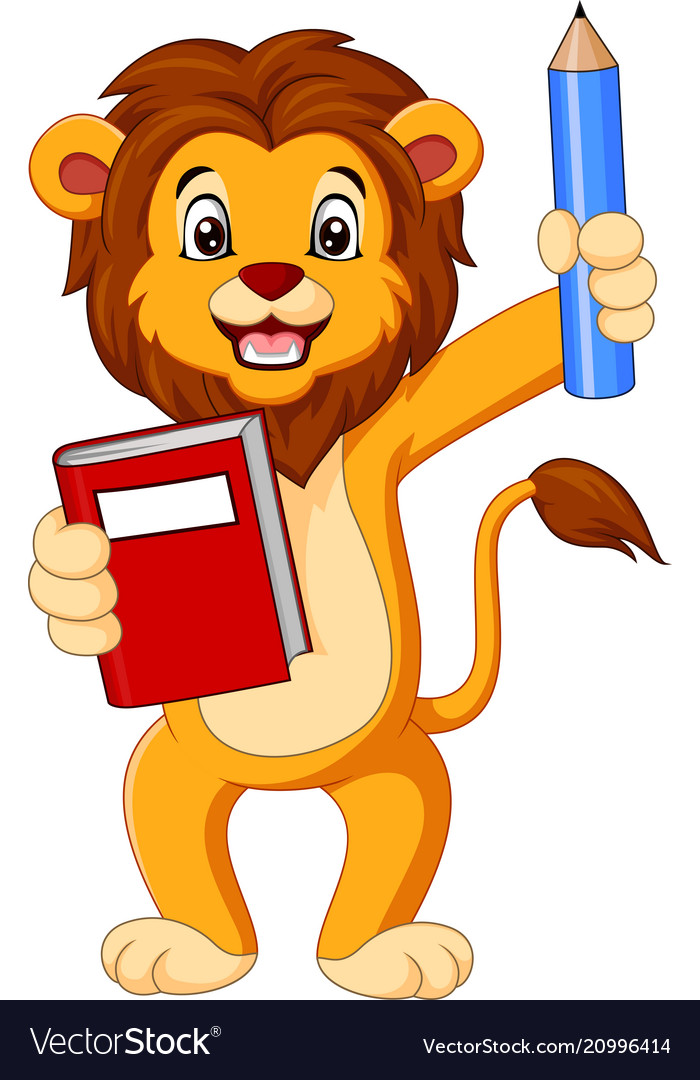 Cartoon lion holding book and pencil