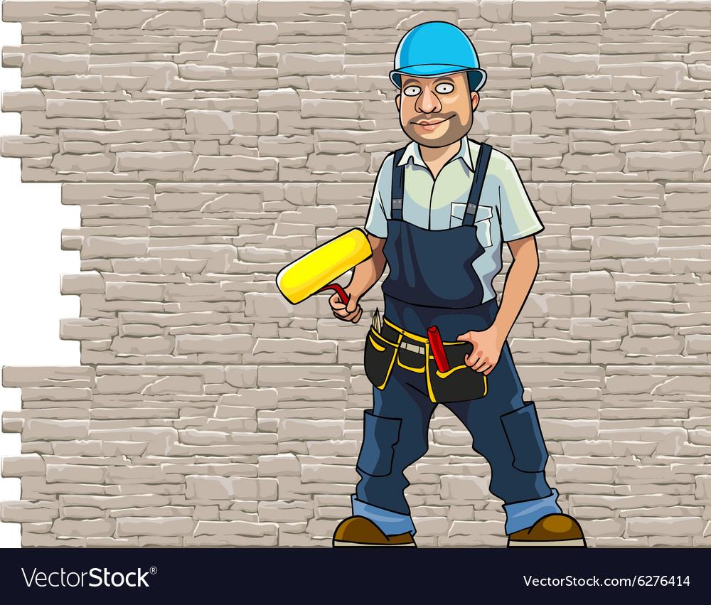 Cartoon man working in a helmet