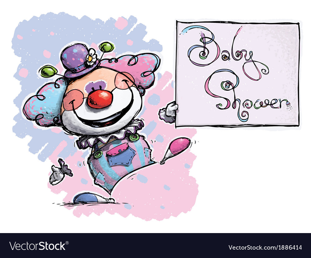 Clown Holding a Baby Shower Card