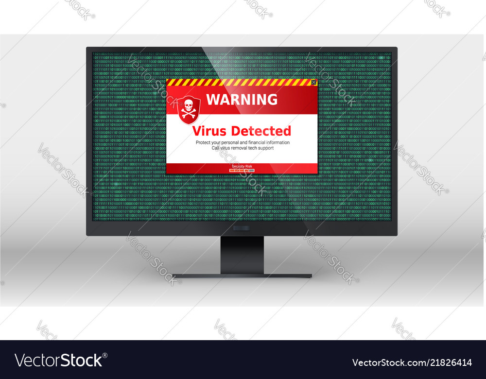 Computer monitor with alert message of virus