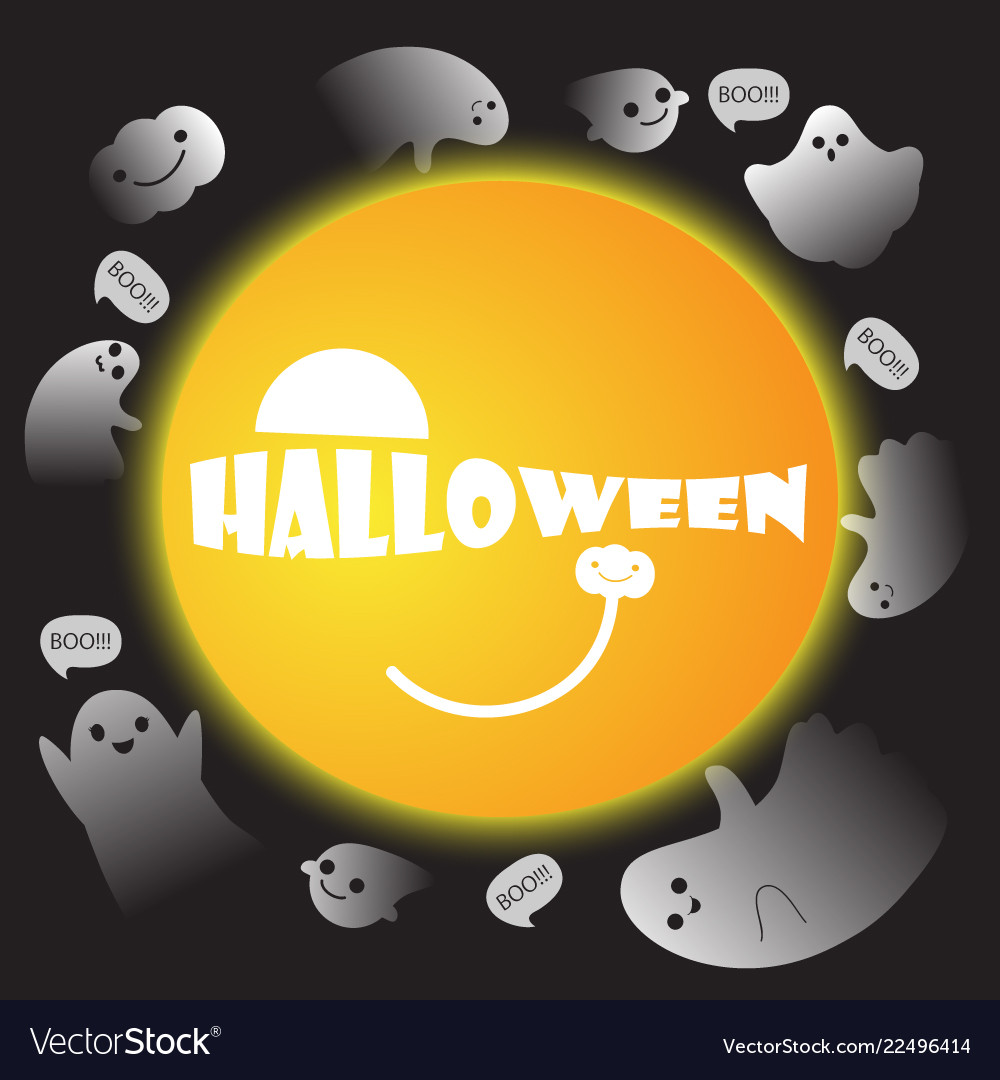 Cute ghosts with moon background halloween