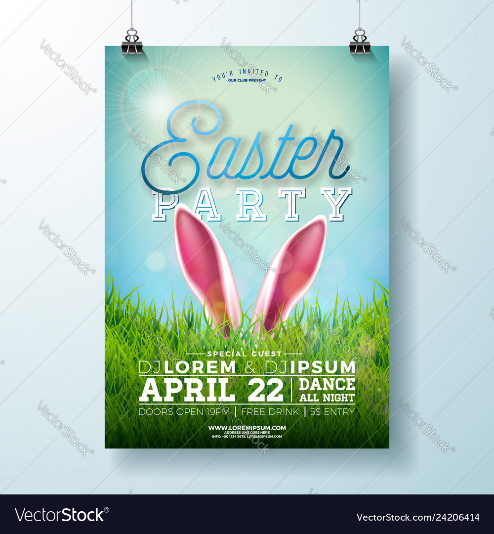 Easter party flyer with rabbit