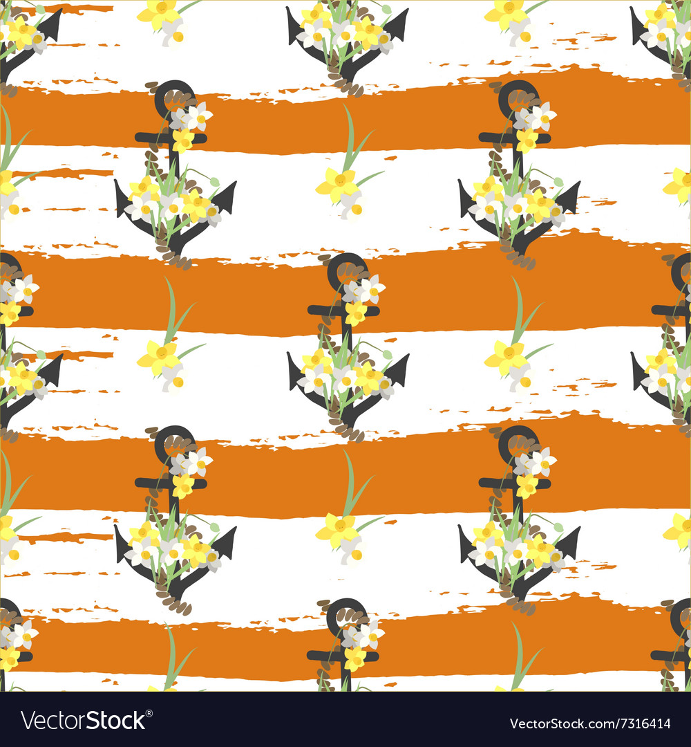 Floral narcissus retro vintage background vector image
