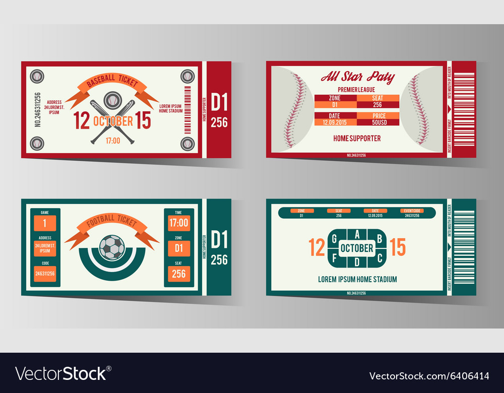 Football soccer and Baseball ticket design