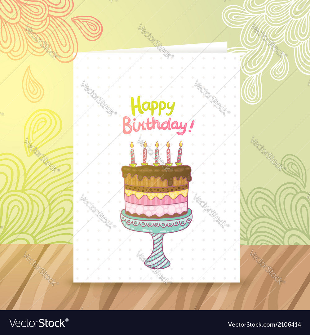 Happy Birthday Postcard Template Withcake