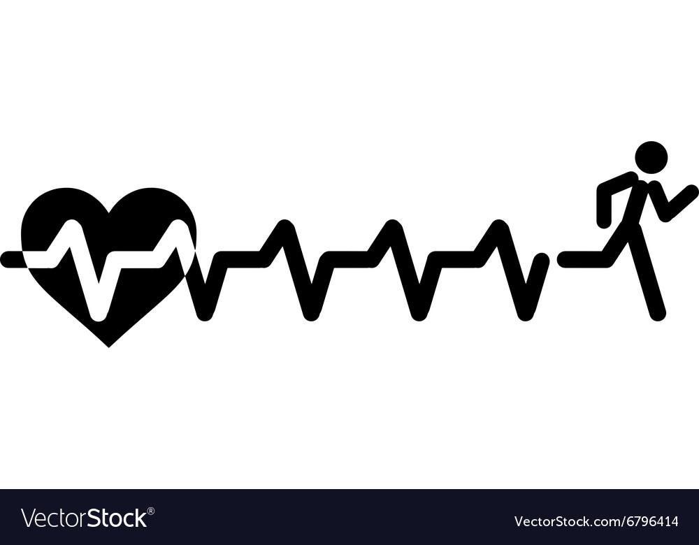 Heartbeat Make Running Man Symbol Stock Royalty Free Vector